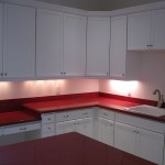 custom lit overhead kitchen cabinets