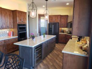 two toned kitchen, kitchen island, island beverage cooler