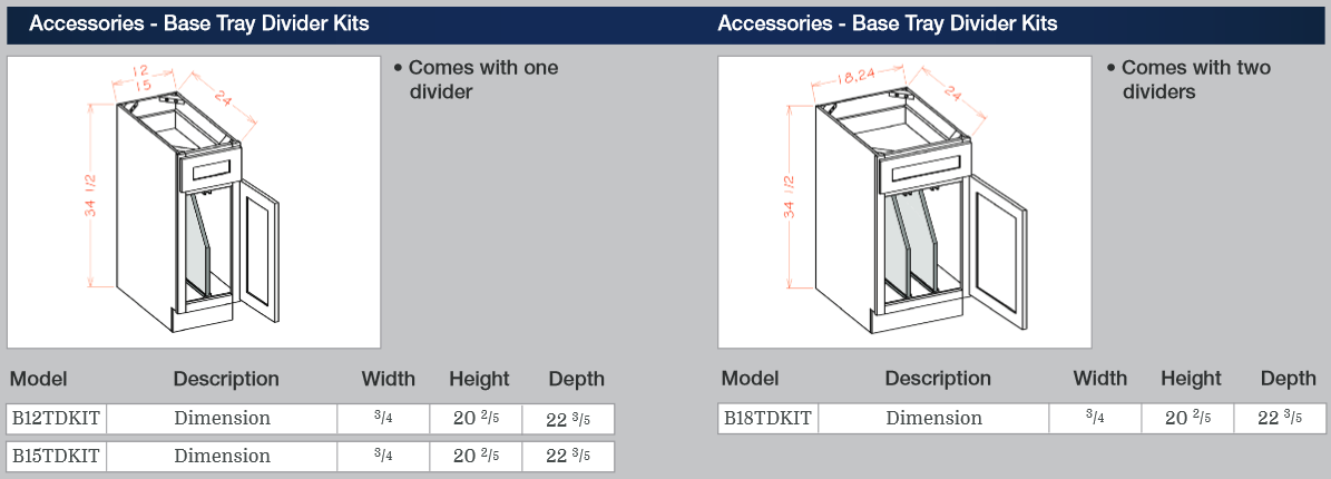 Accessories - Base Tray Divider Kits