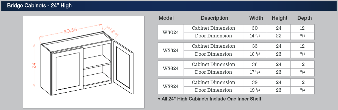 Bridge Cabinets - 24-inches High