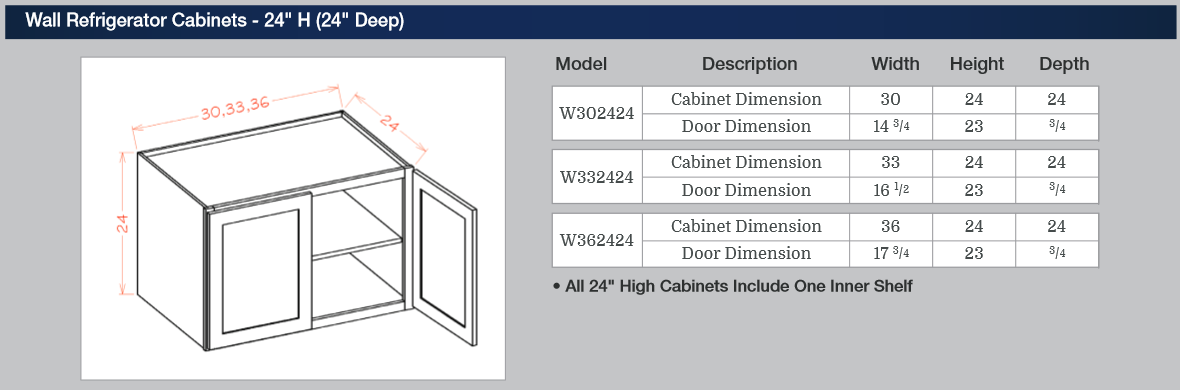 Wall Refrigerator Cabinets - 24-inches H