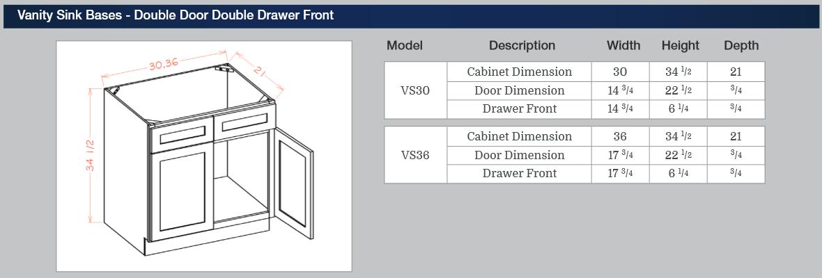 Vanity Sink Bases - Double Door Double Drawer Front