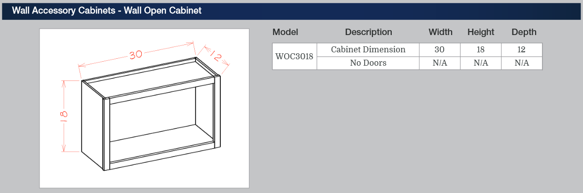 Wall Accessory Cabinets - Wall Open Cabinet