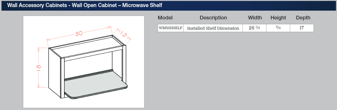 Wall Accessory Cabinets - Wall Open Cabinet - Microwave Shelf
